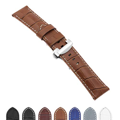 DASSARI Croc Crocodile Embossed Leather Men's Watch Band Strap with Polished Silver Deployant Deployment Clasp Compatible with Panerai - 22mm 24mm 26mm