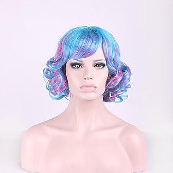 GSP-color mezclado cosplay pelo azul degradado peluca rosa lolita harajuku , 14 inch