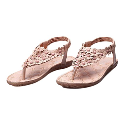 Clearance!Hot Sale! ❤️ Women Sandals, Neartime Summer Bohemia Sweet Beaded Clip Toe Sandals Hollow out Beach Shoes (❤️US8, Khaki)