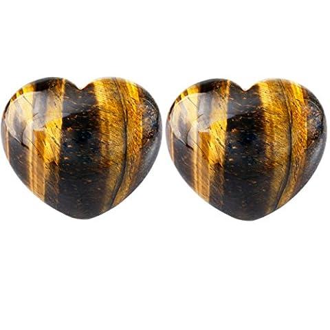 SUNYIK Natural Tiger's Eye Stone Carved Puff Heart Pocket Stone,Healing Plam Crystal 1.5