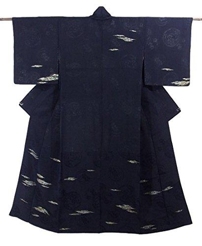 リサイクル 着物 小紋  紋紗 霞に草花文 正絹 袷 裄60.5cm 身丈149cm