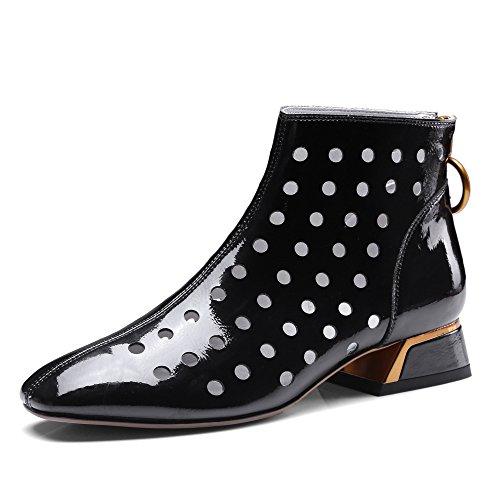 7c44ed64 MUYII Sandalias De Charol De Mujer Zapatos Huecos De Tacón Bajo Zapatos  Transpirables Barato
