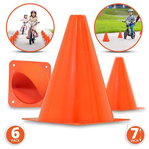 Premium 7-Inch Plastic Traffic Cones (6-Pack) | Orange, Multipurpose Construction Theme Party Cones For Various Activities & Events| Perfect For Kid Parties, Indoor, Outdoor & Festive Events - Mini Traffic Cones