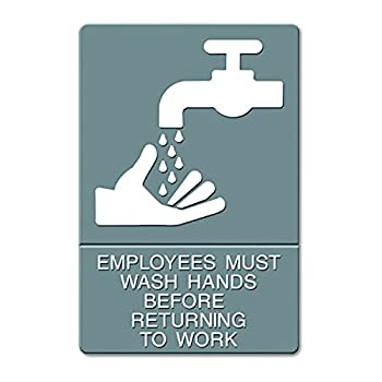 """Quartet ADA Hygiene Sign, """"Employees Must Wash Hands..."""" Tactile Symbol/Braille, 6 x 9 Inches (4726)"""