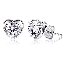 B.Catcher Earring Studs Heart Shape 925 Sterling Silver Cubic Zirconia Heart Stud Earrings