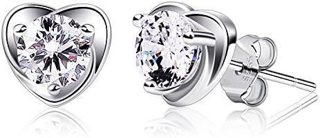 B.Catcher Earring Studs Heart Shape 925 Sterling Silver Cubic Zirconia Heart Stud Earrings