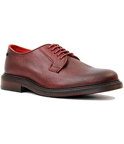 Base London Oxford Derby Brogue Range of Mens Formal and Informal Leather Lace-UPS Black and Brown Scotch Grain Bordo-Derby