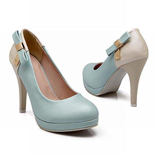 MissSaSa Damen Schleife plateau high-heels Party Büroschuhe/Pumps Blau
