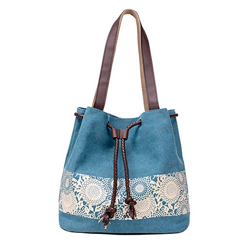 de Azul Mujer Lienzo Compras Azul Bolsa Bolsa Viaje Hombro Escuela Bolso de Lona Vintage Bohemia Compras de 5qHraqxT