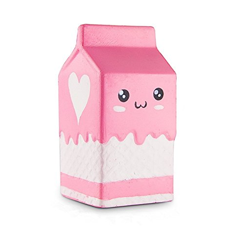 TOODAY Kawaii Jumbo Slow Rising Squishies Cream Scented Squeeze Kid Toy Phone Charm Gift for Stress Relief and Time Killing (Milk Box) Cell Phone Antenna Charm Jewelry