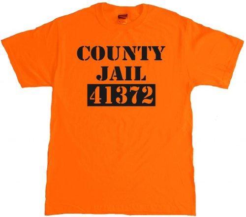 County Jail Funny Halloween Fugitive prisoner Adult T-shirt - -
