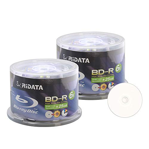 100 Pack Ridata 6X BD-R BDR 25GB Single Layer Blue Blu-ray White Inkjet Hub Printable Recordable Blank Media Disc with Spindle Packing