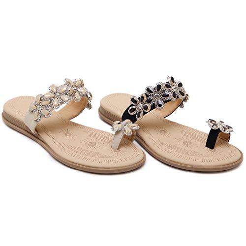 AIYOUMEI Damen Flach Slipper Sandalen mit Blumen Indoor & Outdoor Flip - flops Sommer Schuhe Schwarz