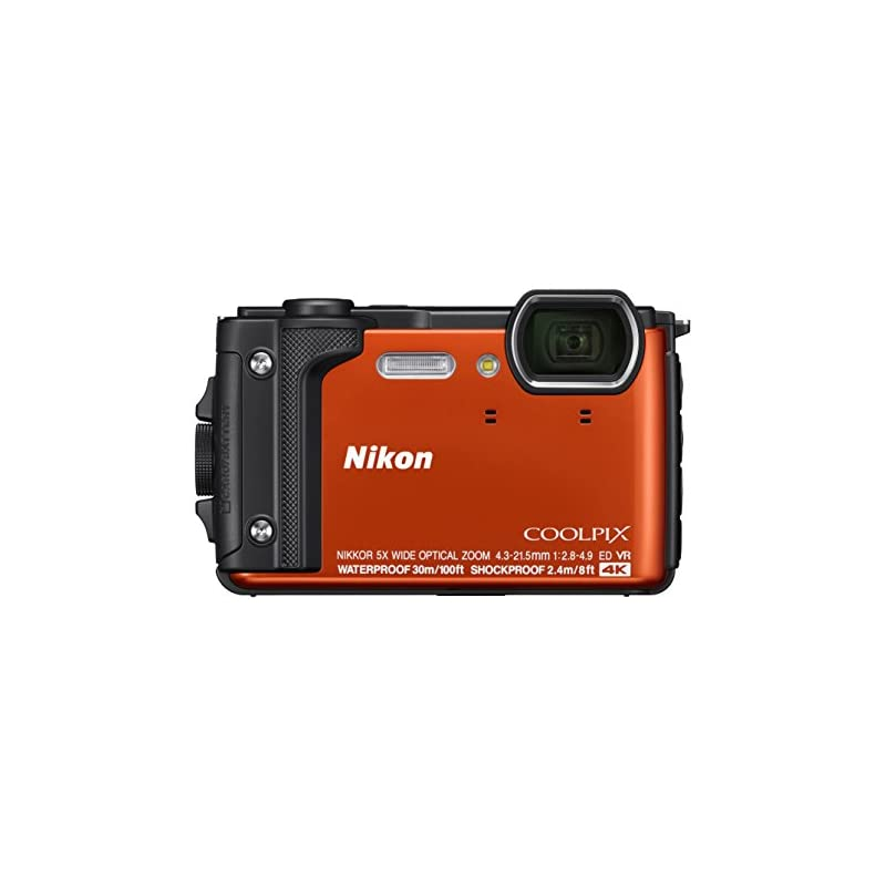 """Nikon W300 Waterproof Underwater Digital Camera with TFT LCD, 3"""", Orange"""