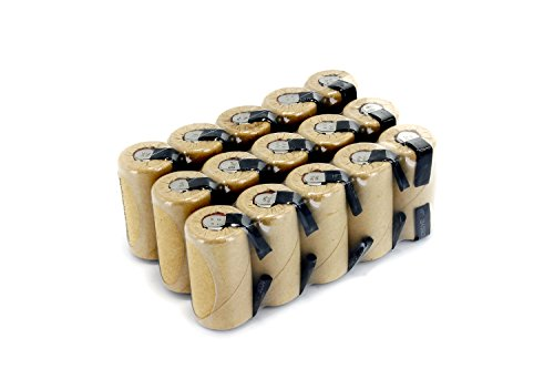 Box of 15 pcs Tenergy NiCd SubC 2200mAh Paper Wrapped Rechargeable Batteries with Tabs (12 Sub C Battery)