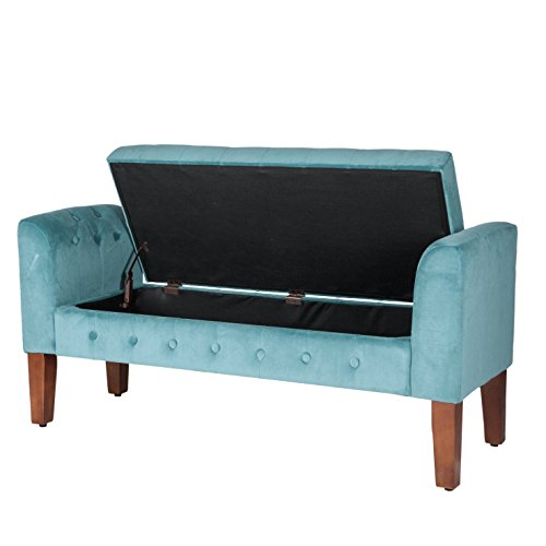 Miraculous Homepop Velvet Tufted Storage Bench Settee With Hinged Lid Theyellowbook Wood Chair Design Ideas Theyellowbookinfo