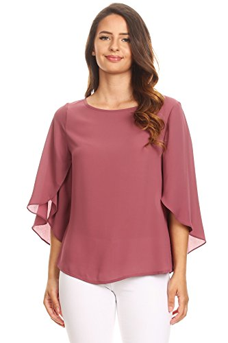 Via Jay Relaxed Comfy Fit 3/4 Open Flutter Sleeve Blouse TOP (X-Large, Wild Ginger)