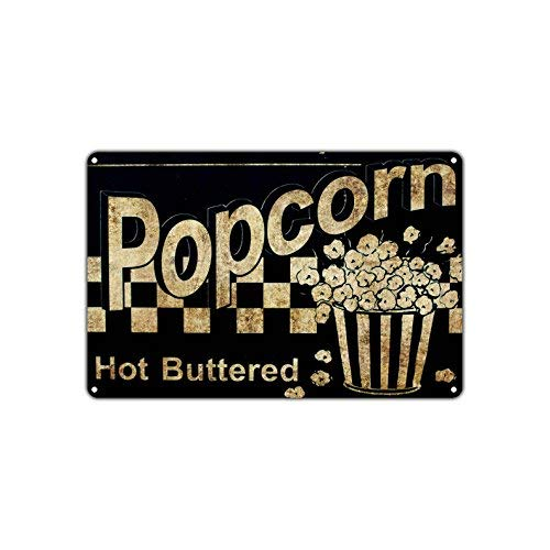 (Popcorn Hot Buttered Movies Snacks Vintage Retro Metal Wall Decor Art Shop Man Cave Bar Aluminum 8x12 inch Sign)