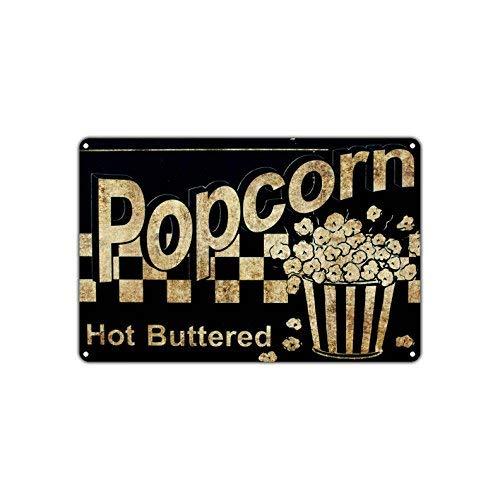 - Popcorn Hot Buttered Movies Snacks Vintage Retro Metal Wall Decor Art Shop Man Cave Bar Aluminum 8x12 inch Sign