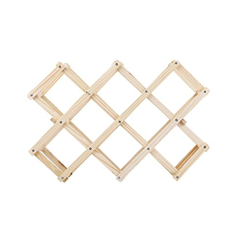 BESTONZON Wood Wine Racks Foldable Wine Stand Wine Holder for Kitchen Bar Display Shelf (10 Bottles) by BESTONZON