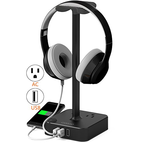 cozoo Headphone Stand with USB charger Desktop Gaming Headset Holder Hanger with 3 USB Charging Station and 2 Outlets Power Strip - Suitable For Gaming, DJ, Wireless Earphone Display (Black)
