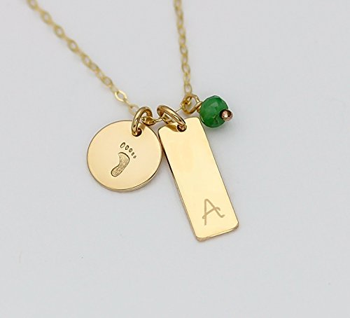 Personalized Baby Foot Necklace with Birthstone Charm, Sterling Silver or 14K Gold Fill or 14K Rose Gold Fill Initial Pendant Bar Jewelry, New Mom Gift