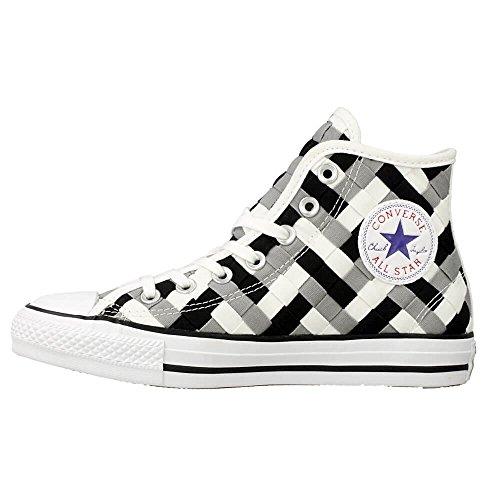 Converse Mens Chuck Taylor All Star Tessuto Alta Top Sneaker Sneaker Moda Nero Bianco Delfino