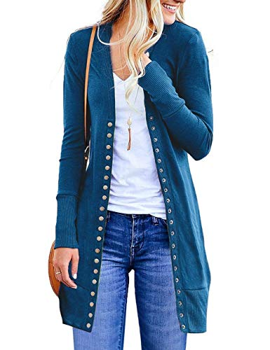 Women Long Sleeve Snap Button Down Solid Color Casual Knit Cardigan Sweater XX-Large Teal Blue