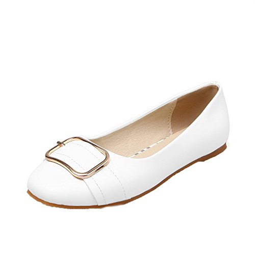 AmoonyFashion Womens Patent Leather Solid Pull-On No-Heel Pumps-Shoes White pwwZiF