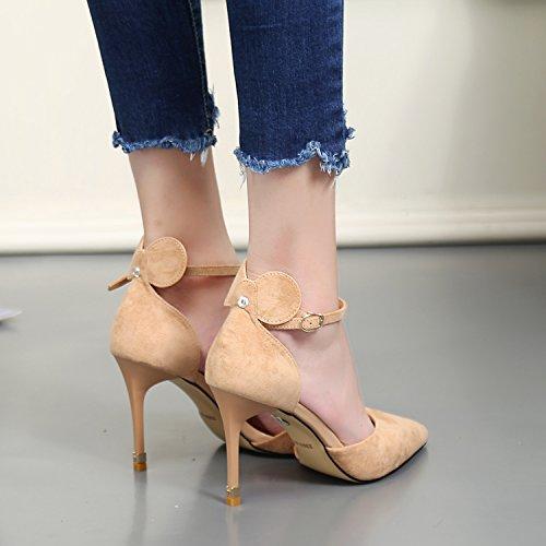 KPHY-Süße schöne Prinzessin Spitze Schuhe Schuhe High-Heeled im Herbst die neue Spitze Prinzessin Satin feine Mit dem geschlitzten Lasche Hohlen einzelne Schuhe Camel 9e239c