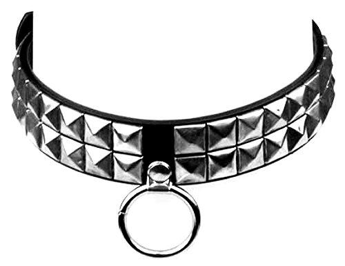 viele Gothic Punk Nieten-Halsband, Pyramidennieten Halsbänder mit Leinen Ring U4,5-X (2 Reihen)