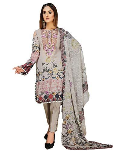 (IshDeena Pakistani Party Dresses for Women. Ready to Wear. Embroidery Salwar Kameez Suit (Medium, Ash Gray - Aalaya))