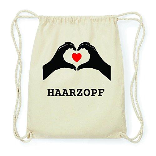 JOllify HAARZOPF Hipster Turnbeutel Tasche Rucksack aus Baumwolle - Farbe: natur Design: Hände Herz iWmYv