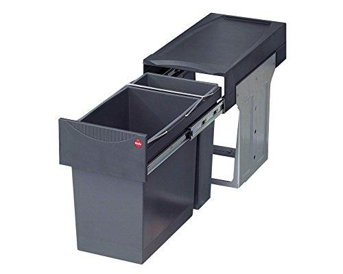 Hailo 3666111 Abfallsammler TA Swing 30.2/31 Tandem Mülleimer mit Vollauszug per Hand für den Einbau Schrankbreite, 31 L, 30 cm, grau