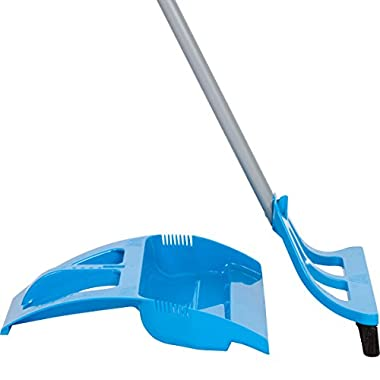 WISPsystem Telescoping Broom and Dustpan with WISPaway Hanger and Electrostatic Bristle Seal Technology (Blue)