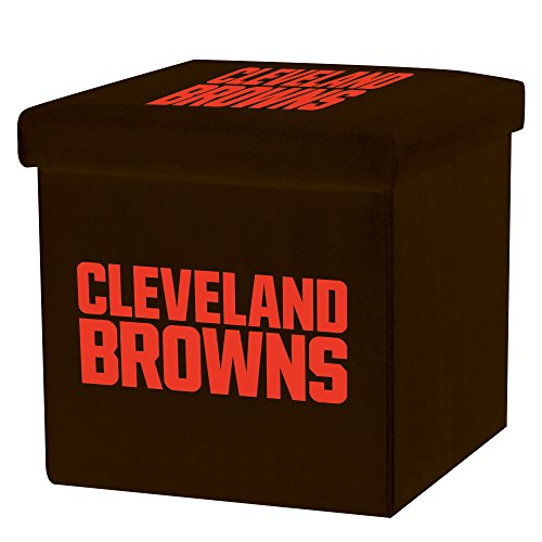Franklin Sports NFL Cleveland Browns Storage Ottoman with Detachable Lid 14 x 14 x 14 - Inch (Cleveland Browns Lighting)
