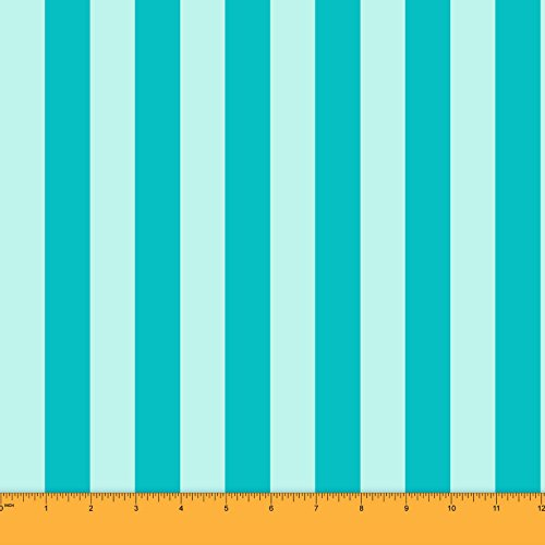 Soimoi 20 GSM Stripe Print Pure Silk Fabric For Sewing 44 Inches Wide Material By The Yard - Aqua Blue ()