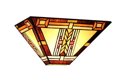 Chloe Lighting CH33291MS12-WS1 Gode - Tiffany-Style Mission 1-Light Wall Sconce - 12-Inch Wide - Multi-colored