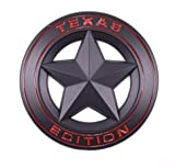 1996 dodge ram emblem - TrueLine Round Texas Edition Side Door/Tailgate Emblem Set of Two (Black With Red Letters)