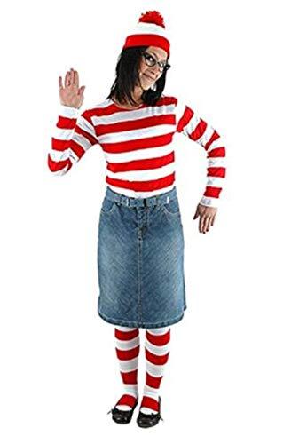 LDamcom Cosplay Where's Waldo Costume Funny Sweatshirt Hoodie Outfit Glasses Hat Cap Suits