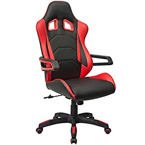 Homall Computer Racing Chair Ergonomic High-Back Gaming Chair Premium PU Leather Bucket Seat,Swivel Lumbar Support Executive Office Chair (Red)