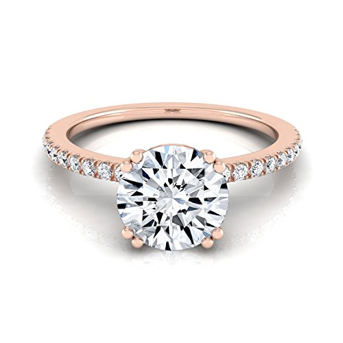 (14K Rose Gold Prong Set 3/4 ct. t.w. Round Brilliant Cut Diamond Engagement Ring, Size 6)