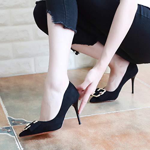 Alti Black Scarpe Sottile 36 KPHY Testa Scarpe donna 9Cm Scarpe Di Autunno Tallone Detto Le Con Scarpe Superficiale Solo da Inchinatevi Tacchi Metallo Scarpe ggq7wxpA