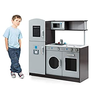Costzon Kids Play Kitchen with Simulated Sound, Wooden Pretend Cooking Food Set with Sink, Stovetop, Fridge, Oven…
