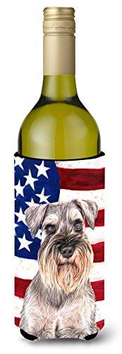 USA American Flag with Schnauzer Wine Bottle Beverage Insulator Hugger KJ1158LITERK