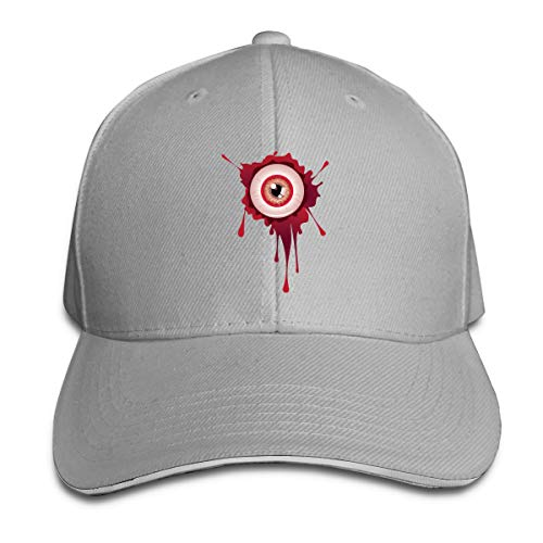 ONE-HEARTHR Adult Halloween Bloody Eyeball Cotton Lightweight Adjustable Peaked Baseball Cap Sandwich Hat Men Women]()