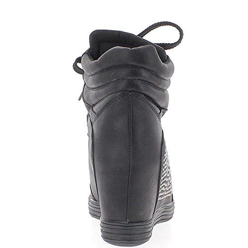 Negro zapatillas cuña de levantamiento con diamantes de imitación para tacón de 7,5 cm