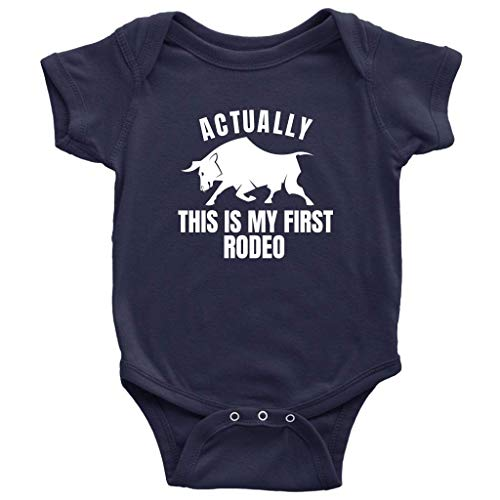 Actually This is My First Rodeo One-Piece Bull Riding Baby Bodysuit (Navy, 6M) ()