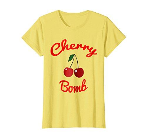 Retro Cherries - Womens Retro 70s Cherry Bomb Vintage Style Cute T-Shirt Medium Lemon