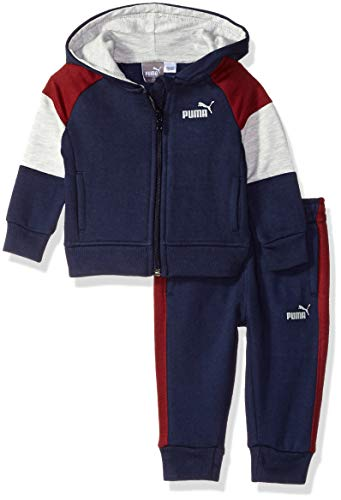 Onesie Snapsuit Infant (PUMA Baby Boys' Fleece Zip Up Hoodie Set, Peacoat 3-6)